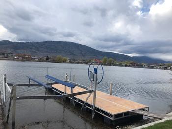 Shoremaster 8' X 24' Floating Dock with Dock Ladder, Boat Bumpers and 5000 Pound Boat Lift