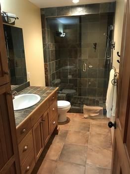 Master ensuite with amazing slate walk in shower and heated floors