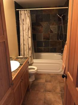 Main bathroom with slate tile surround with tub/shower combo and heated floors