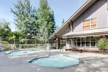 Two of the three hot tubs on the property Open 10 am to 10 pm year-round