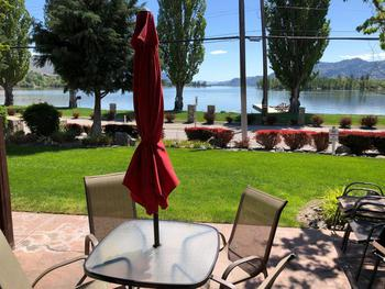 Enjoy your dinner on our patio with a south view of the lake