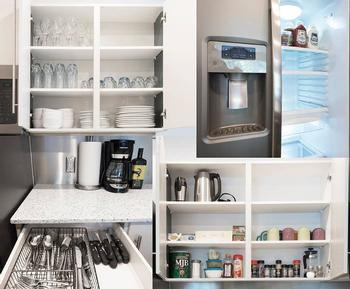 We fully stock our kitchen! Fridge has ice and water!