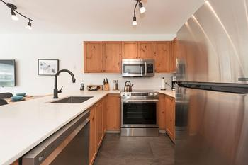 Modern kitchen with new stainless appliances