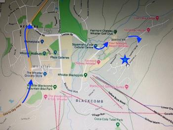 Map - route (blue arrows) from Sea to Sky Hwy to PowderHorn (star). Note proximity to the ski hill!