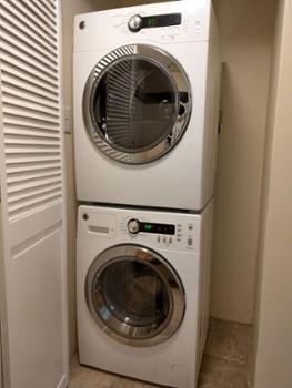New washer and dryer inside the condo.