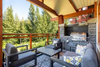 Outdoor private balcony with gas fireplace
