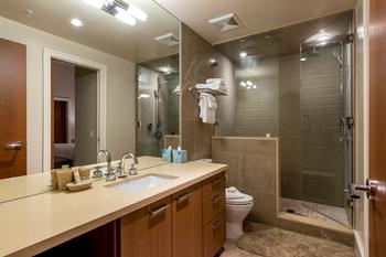 Lower level bathroom with steamshower and ensuite to bedroom 4