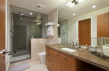 Lower level shared bathroom with steam shower