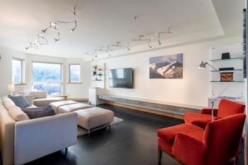 Living Room overlooking base of Blackcomb Mountain