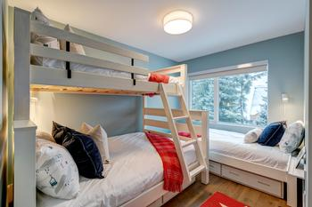 Bedroom 4: Bunk Bed with double on bottom and single on top and separate single bed