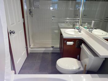 Deluxe Shower package, this washroom has Walk in Shower and bath tub.
