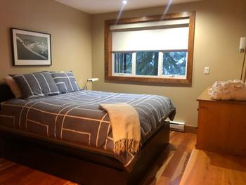 This is the first bedroom you come to as you stroll down the hallway towards the bathroom. This is a queen bed. The bedrooms have lots of closet space, which is getting hard to find in Whistler!