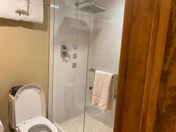 Lower Bathroom Shower-features rainshower, steam shower and body jets. Yahoo!