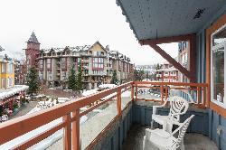 Large balcony offers views of Blackcomb mountain to the east and views of the bustling village stroll below.