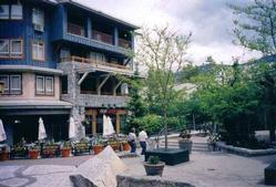 The entrance to Eagle Lodge. Located in Whistler Village, the ground floor of the building is shops and restaurants. A private entrance takes you to the condos above.