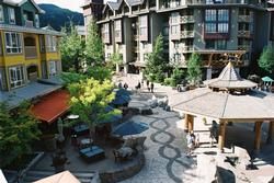 View from the balcony down onto the Village Stroll below. Our unit is quiet, yet is located right in the middle of Whistler Village.
