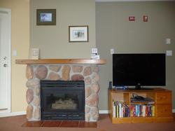 The cozy gas fireplace is a perfect place to curl up and relax after a busy day in Whistler. There is a big selection of books for you to choose from so something for everyone. The flat screen TV has a DVD player with a selection of DVDs as well. We have added the movie channels to our cable service so enjoy.