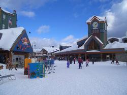 The Village and Ski School at Big White is only a few minutes walk or ski out directly down and take the Plaza chair to the village.