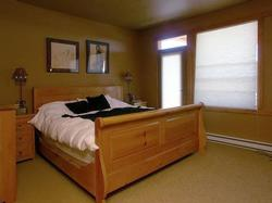 The master suite has hand crafted pine furniture with a king sliegh bed and steam shower ensuite.