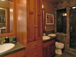 Master bedroom bathroom comes fully equiped with two sinks annd a steam shower for pampering
