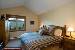 Top floor master Bedroom with King Bed, walk in closet, TV and DVD player, down comforter, and ensuite bath.