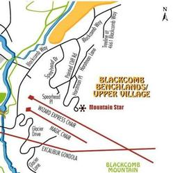 Map of The Benchlands. Mountain Star is just off the lower Cruiser run under the Wizard Express chairlift.