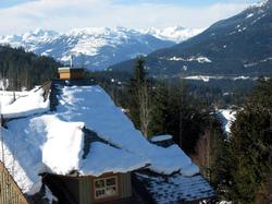 View of Sproat Mountain, Rainbow Mtn and Whistler Valley from the deck. SW exposure for lovely apres sun.