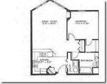 Unit 402 floor plan - note two entrances to the bathroom...one from the bedroom, one from living area