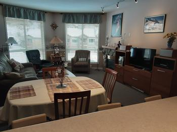 Dining living area and entertainment unit with TV, cable, wi fi internet, stereo and board games