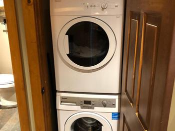 Built-in full size washer and dryer.