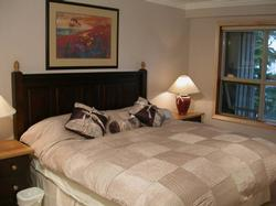 Decadence throughout, this bedroom with French door also has luxurious down comforter.
