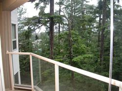Private Deck overlooks Chateau Whistler and the Wizard Chair.