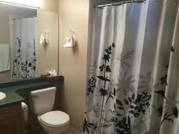 Full bath with dual access from Master bedroom and living area.