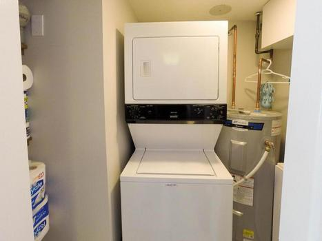 Utility cupboard includes a full sized washer and dryer. There is also an iron and ironing board if needed. The brand new hot water system ensures plenty of hot water for your baths and showers.