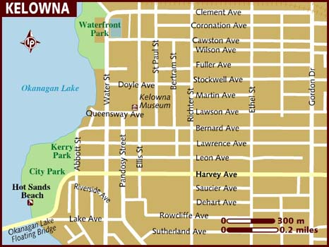 Kelowna accomodations downtown map map