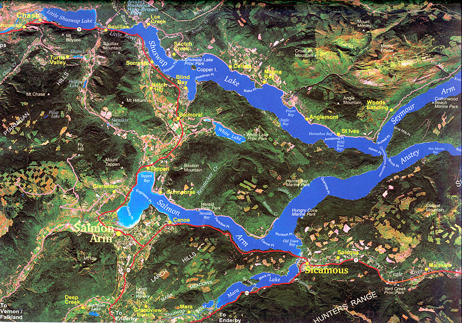 Area map of Shuswap Lakes and vacation rentals